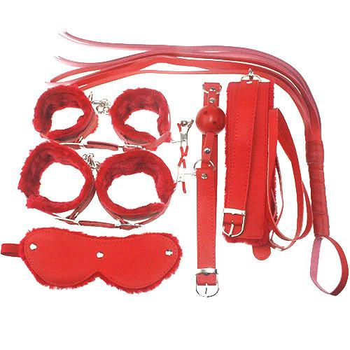 Handcuffs Sex Games Sex Tools 7 Pieces kit red Leather Bedroom Restrain  Footcuff Queen Consume Fun Adult whip Set sex products. Handcuffs Sex Games Sex Tools Kit Red Leather Bedroom Restrain
