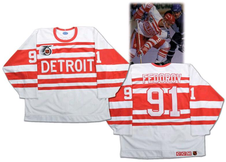 a6d0261e05d 2019 Detroit Red Wings 1992 Sergei Fedorov Jersey 75th Anniversary  91  White Alternate Stitched Vintage Ice Hockey Jerseys From B2bcn