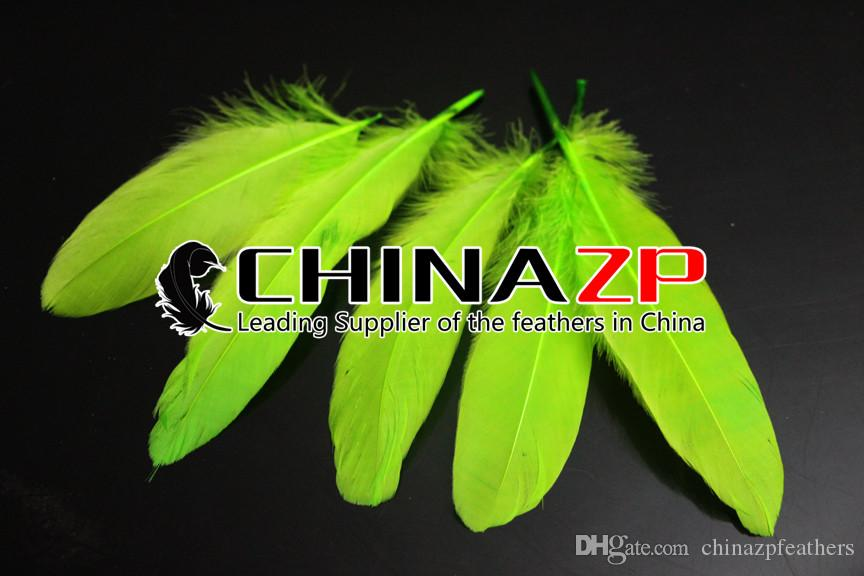 Leading Supplier CHINAZP Crafts Factory 10~15cm4~6inch Length Selected Top Quality Lime Green Goose Loose Feathers