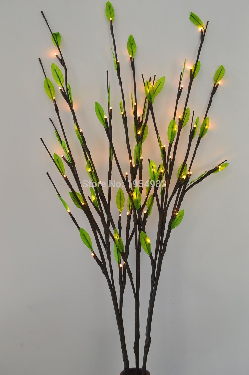 2019 Led Battery Branch Light 40 60 Led With Green Leaves Decoration