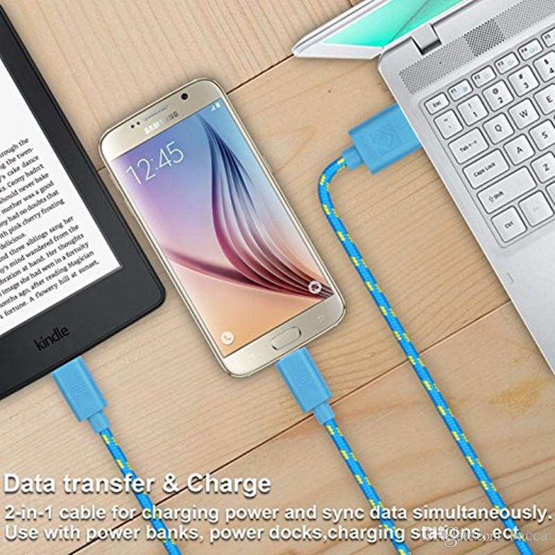 1M 2M 3M Braided nylon Micro USB charger data Cable Woven Charger Cords Fast Charging Microusb Android