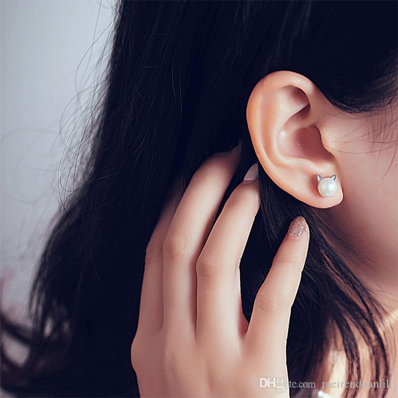 Orecchini gatto carino orecchini in argento sterling 925 placcato perla orecchini moda Jwewlry le donne ragazze spedizione gratuita platino colore all'ingrosso