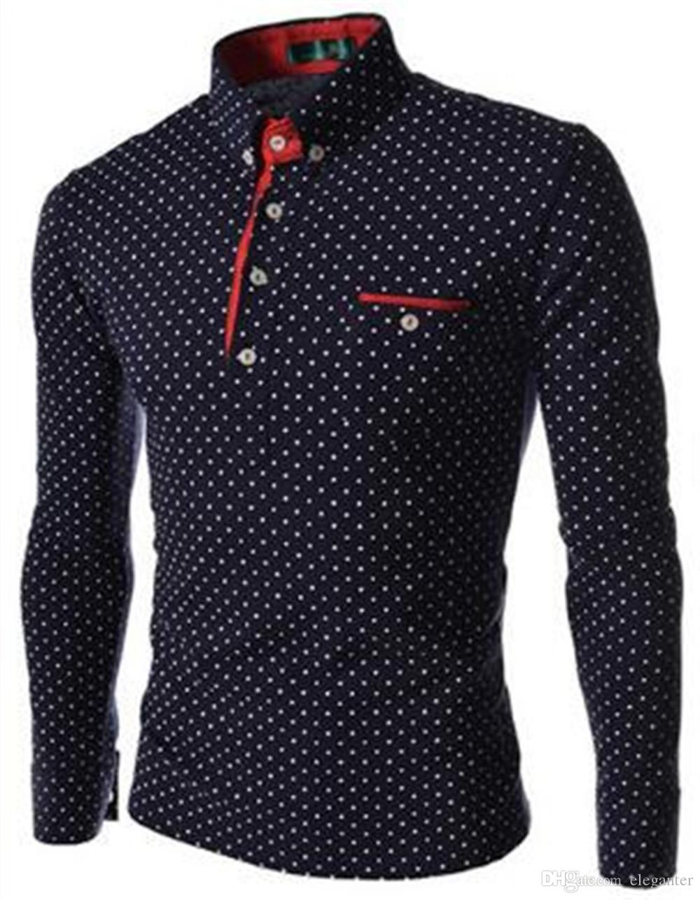 New Brands Mens Dot Long Sleeve Polo Shirts Brands Long Sleeve