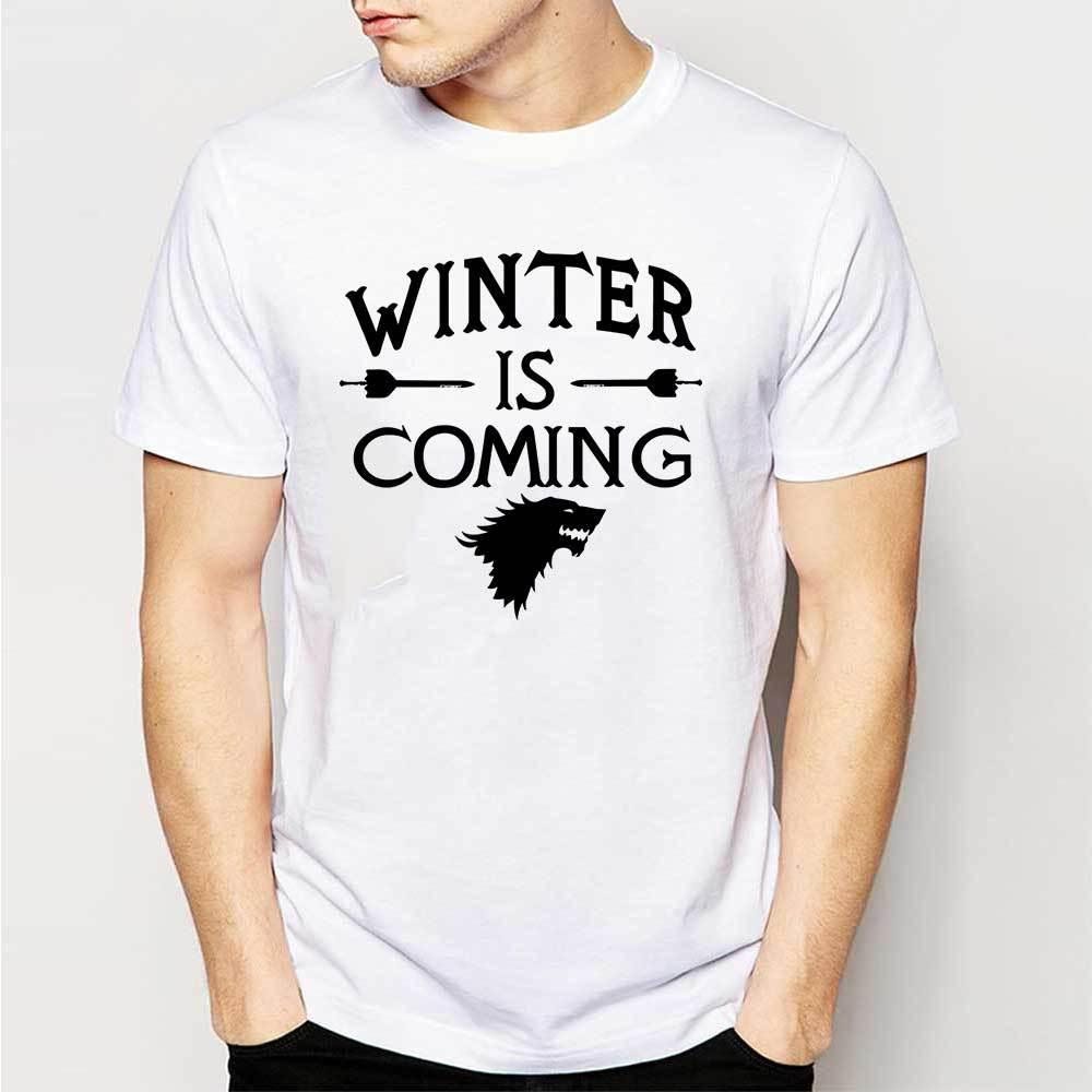 Design t shirt games - Creative Design Game Of Thrones T Shirts Men Winter Is Coming Man T Shirt Short Sleeve Mens T Shirt Cotton O Neck Tops Tees Rude T Shirt Shirt With T Shirt