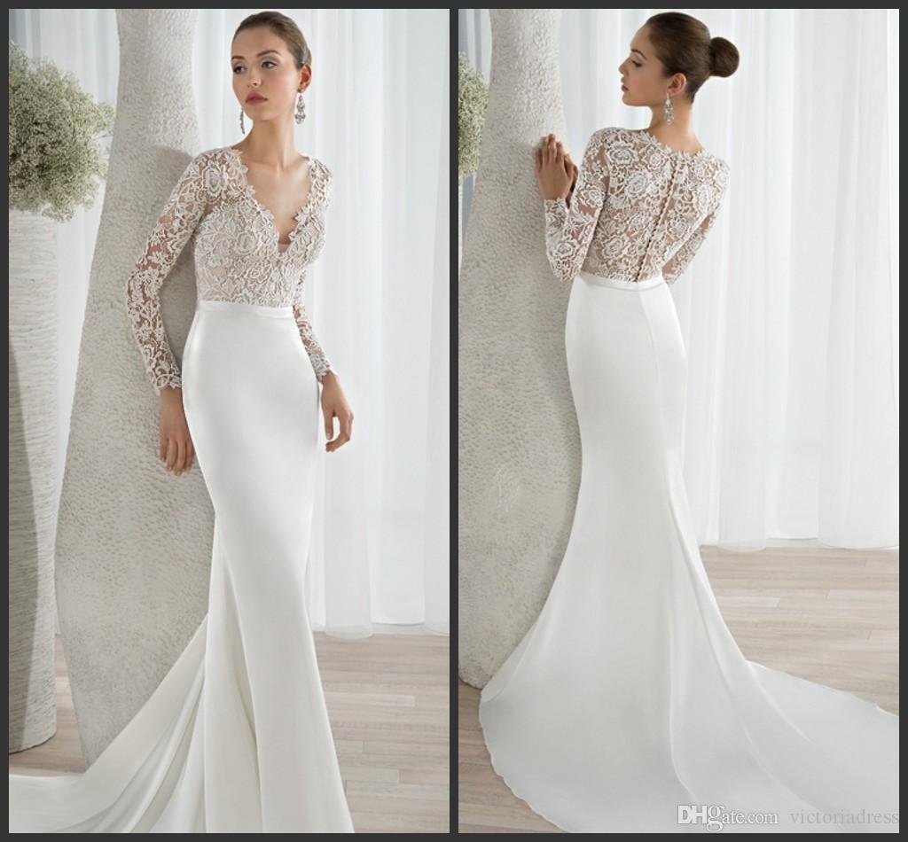 Ivory Satin Mermaid Wedding Dresses V Neckline Long Sleeves Bodice ...