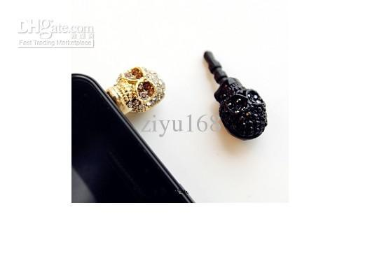 Charm Dust Plugs for Cell Phones Skull Anti Dust Cover Crystal earphone jack For Iphone Dust Cover