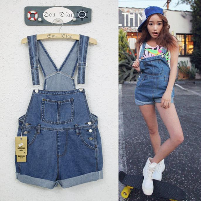 2017 2015 New Casual Loose Denim Overall Shorts Plus Size Bib ...