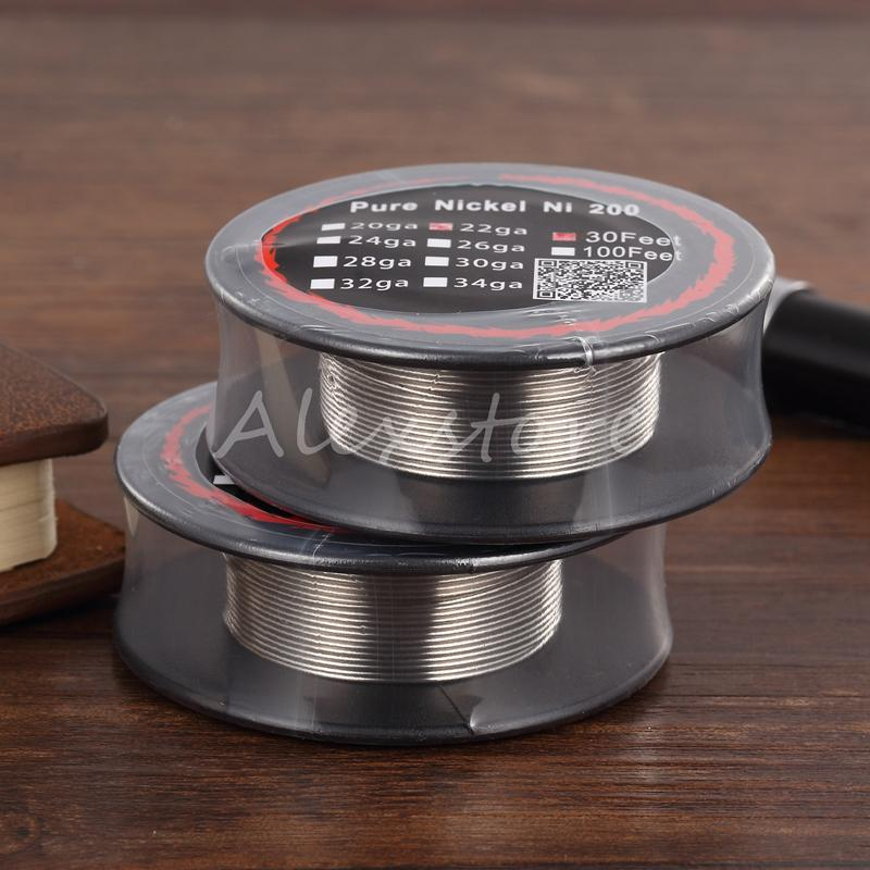 Pure Nickel Ni 200 Wire Ni200 Wires Resistance Coil 30 Feet Spool AWG 24g 26g 28g 30g 32g Gauge For RDA DHL