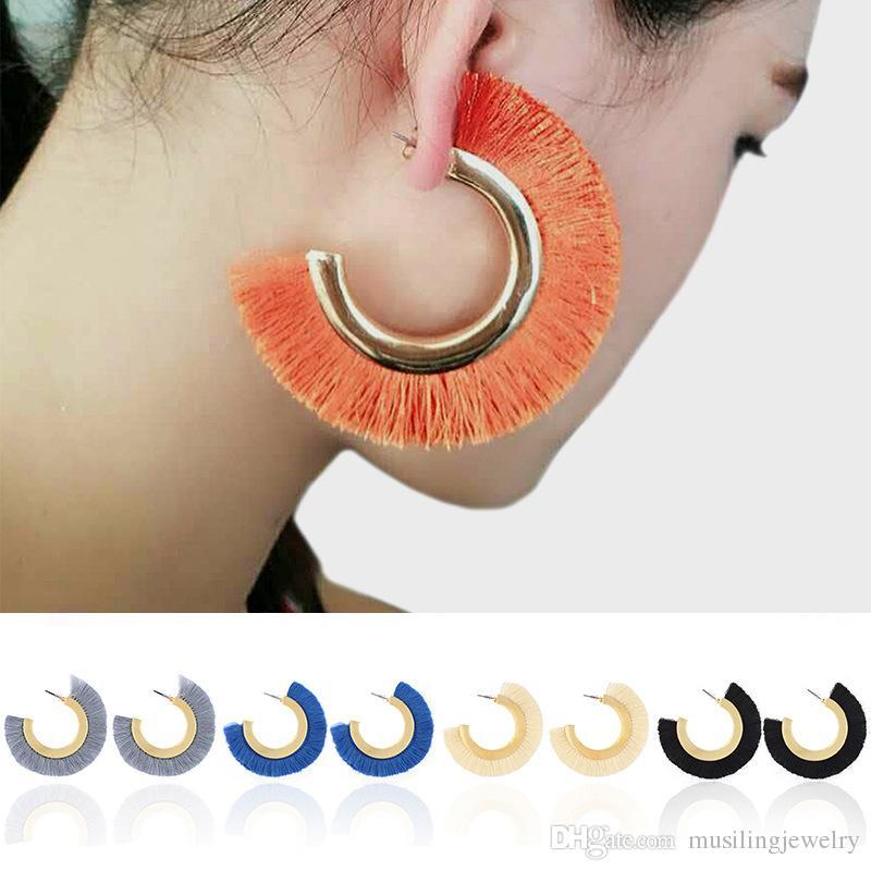 Püsküller Küpe Mektup Damızlık Küpe Büyük C Altın Takılar Kadınlar Için Kulak Aksesuarları Reiki Muska Takı