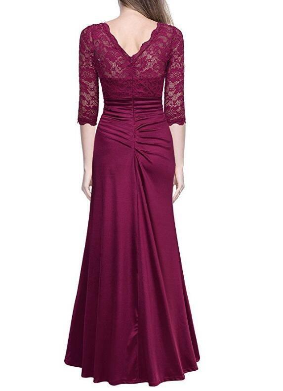 New Fashion Floor Length Lace Top Evening Dress Half Sleeve O-Neck Peplum Tunic Mermaid Dresses DK0083SY