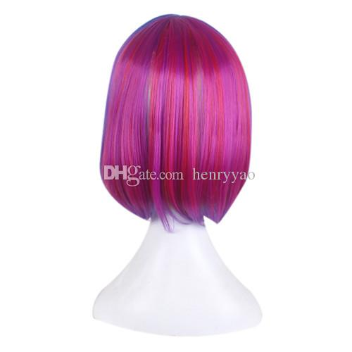 Cosplay Wig Short Animation Bob Hair Wigs Side Bang Wig for Red Blue Purple Colorful Women Synthetic Wig