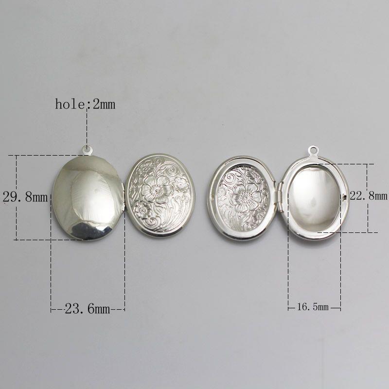 Beadsnice flower locket blank photo locket charm brass oval vintage locket necklace gift findings supplies ID 3361