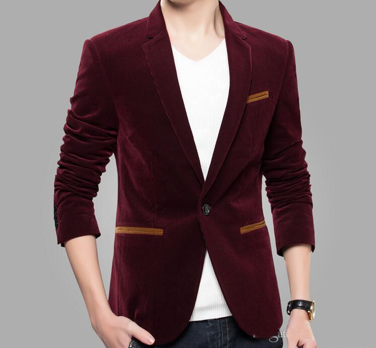 Best Quality 2016 New Casual Corduroy Suit Coat Male Korean Slim ...
