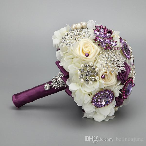Lüks Gelin Buket Düğün Için 2015 Güzel Çiçekler Boncuklu Kristal Nedime Buket Yapay Buketleri Avrupa Moda