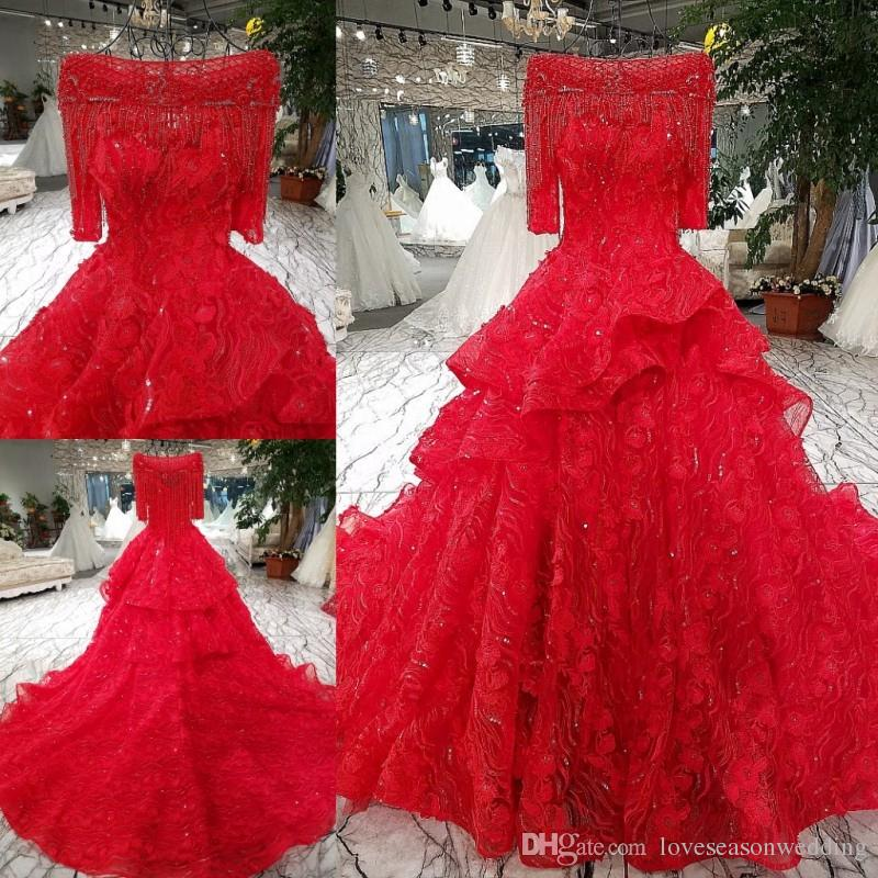 Lsgt9411 Latest Party Gowns Designs With Tassel Half Sleeves Lace ...