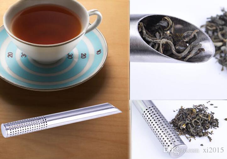 الشحن مجانا! الفولاذ المقاوم للصدأ تصفية الشاي العصي ملعقة شاي مصفاة مصفاة الشاي المائل عصا الشاي أنبوب التحلل انحدارا