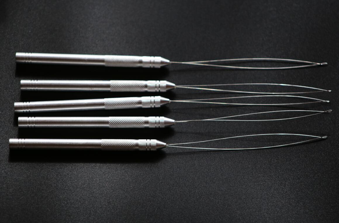 Aluminium Thread Hook Tool Needle Loop Micro Ring Hair Extensions beads