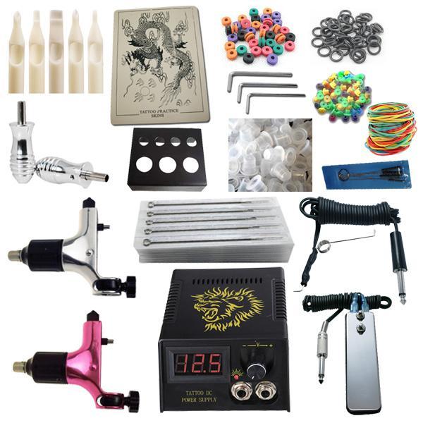 Top Tattoo Kit 2 Spektra Halo Rotary Machine Guns Alimentatore Aghi Grip Tips Tattoo Kit RK2-4