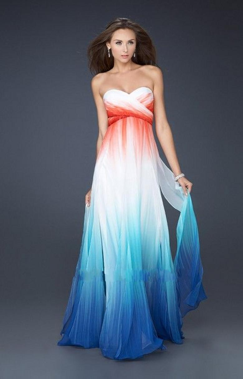 2015 Ombre Pleats Prom Dresses A Line Sweetheart Chiffon Evening ...