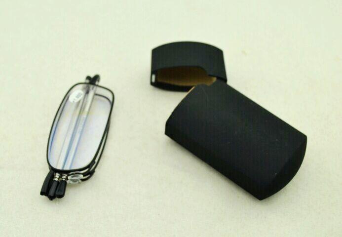 Gafas de lectura plegables de alta calidad con la caja dura, lector flexible del marco negro Envío libre
