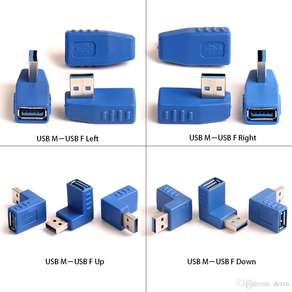 Blue USB 3.0 90 Degree A Male to Female m//f Cable Adapter Connector Left Right