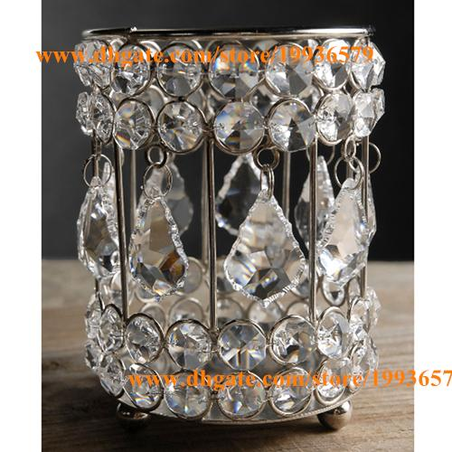 H5 X W4 New Shiny Crystal Votive Tealight Candle Holders Table Wedding  Bling Cylinder Black Candlestick Holders Black Candlesticks Holders From  Magicwedding ...