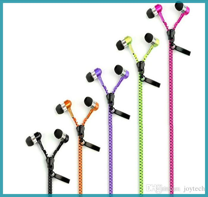 zipper earphone with 3.5mm round head and microphone Control Talk Metal Earphones for cell phone iphone Sansung vs hbs700 730