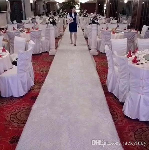 1.6m Wide X 10 m/roll Elegant White Themed Plush Wedding Carpet Aisle Runner For Party Decoration Supplies