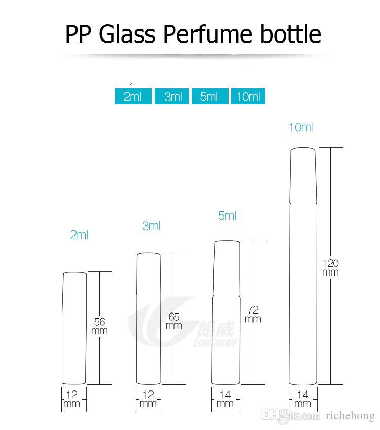 2ml 3ml 5ml 10ml plastica / bottiglia di profumo di vetro, bottiglia vuota spray riutilizzabile, piccolo atomizzatore di profumo, fiale campione di profumo