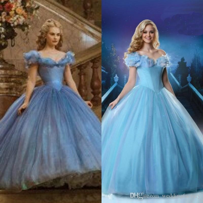 2015 Newest Cinderella Wedding Gown Movie Ball Tulle Off Shoulder Portrait Butterfly Floor Length Formal Prom Dress