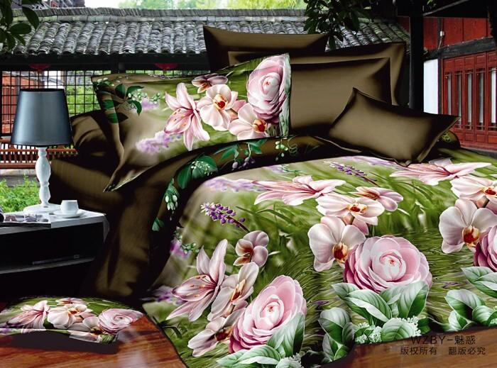 Wholesale - Luxury 3d painting red flower bedding set queen king size 100%Cotton comforter/duvet covers bed sheet bedclothes set