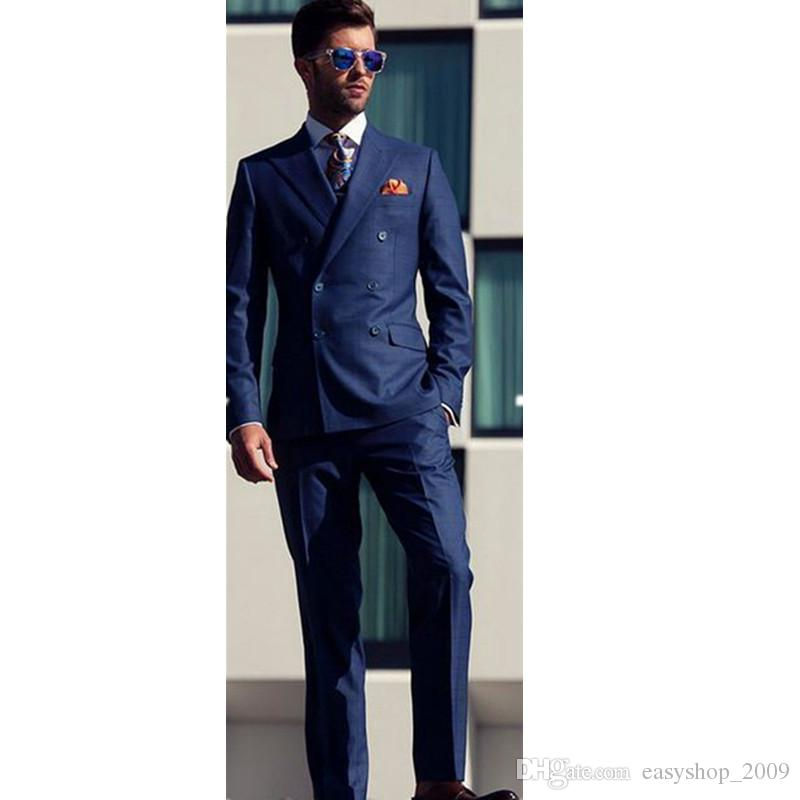 Double Breasted Men's 2 Piece Custom Made Wedding Groom Tuxedos Grooms man Suits 2 Piece (coat + pants) custom made