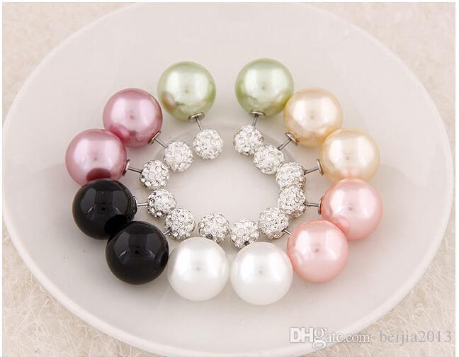 Hot New Shining Full Crystal Lados Dobles Perla Stud Pendientes perla Doble Bolas de bolas Mujeres Pendientes Brincos Accesorios de joyería de la boda