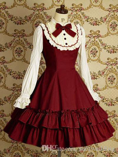 Pizzo retrò foglia di loto pieghettato maniche lunghe abito da ballo cosplay moda gotica Lolita ball gown 2018 foto reali
