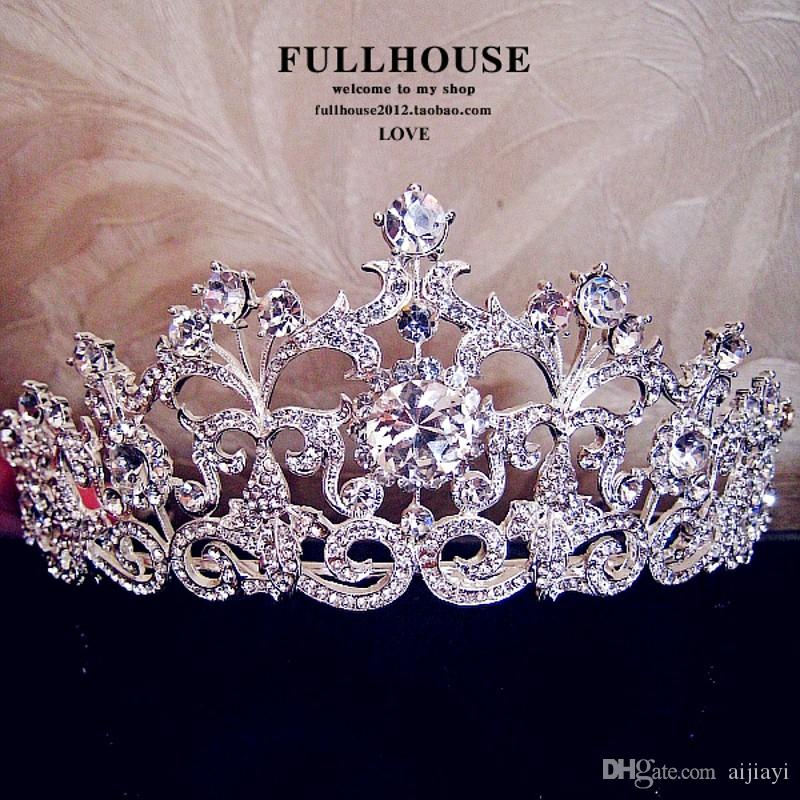 In Stock !!2015 Luxury Wedding Bridal Emperial Cown Hot Sale Wedding Accessories Fancy Shining Crytal Tiaras & headdress