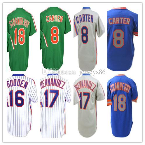 Best Men'S Throwback 8 Gary Carter 16 Dwight Gooden 17 Keith Hernandez 18  Darryl Strawberry Jerseys Baseball New York Stitched Shirts Good Under  $23.67 ...