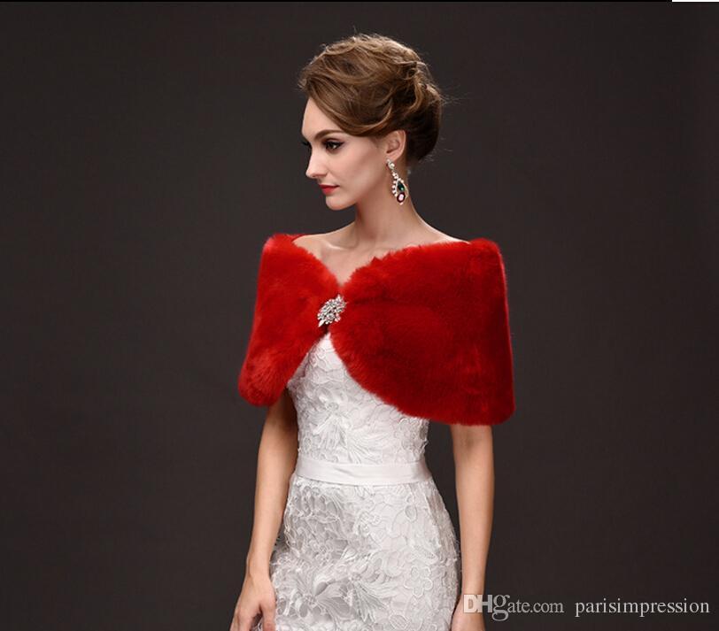 Christmas Red Short Winter Bridal Wraps Warm Soft Faux Fur Shrug Shawl Bride Prom Party Bridal Women Bolero With Brooch