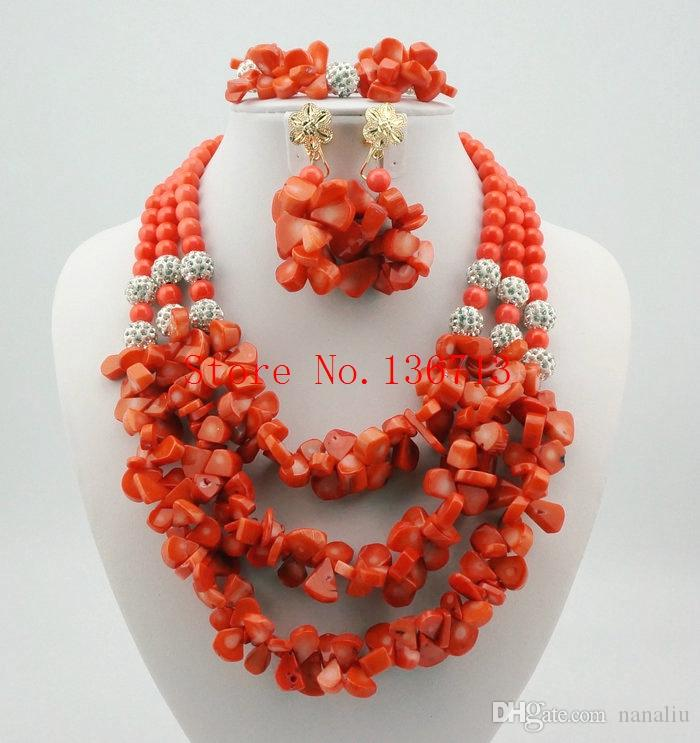 African Wedding Coral Beads Jewelry Set African Beads Jewelry Sets Nigerian Wedding Jewelry Free Shipping white HD303-6