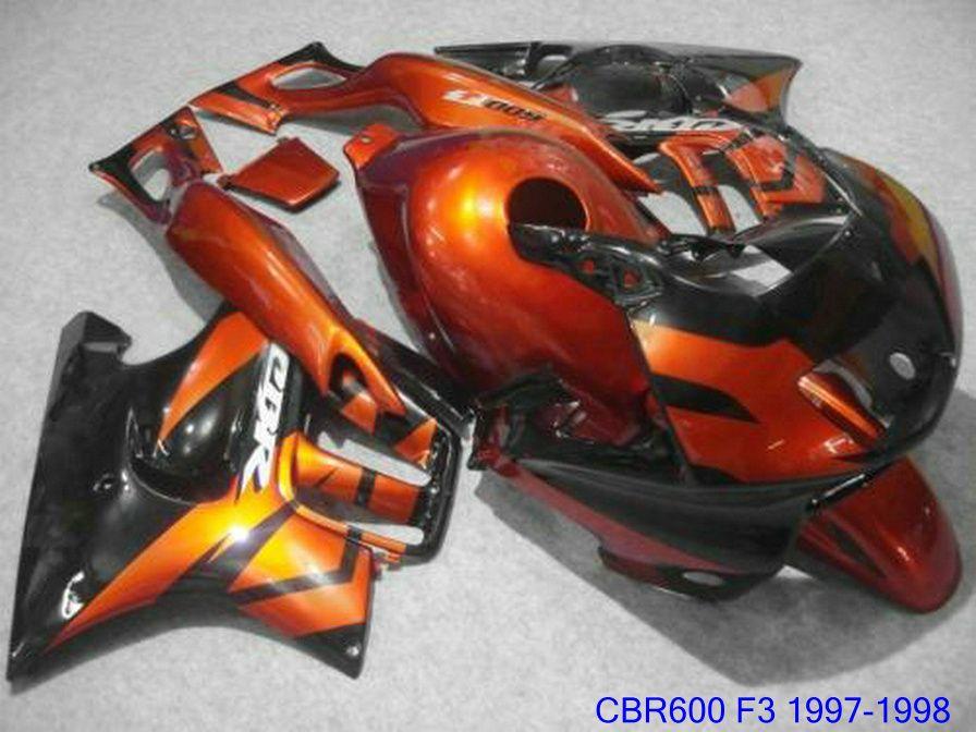 Peças de motocicleta laranja queimado + 7 presentes para kit de carenagem Honda CBR 600 F3 CBR600F3 1997 1998 carenagens CBR600 F3 95 96 AKIV