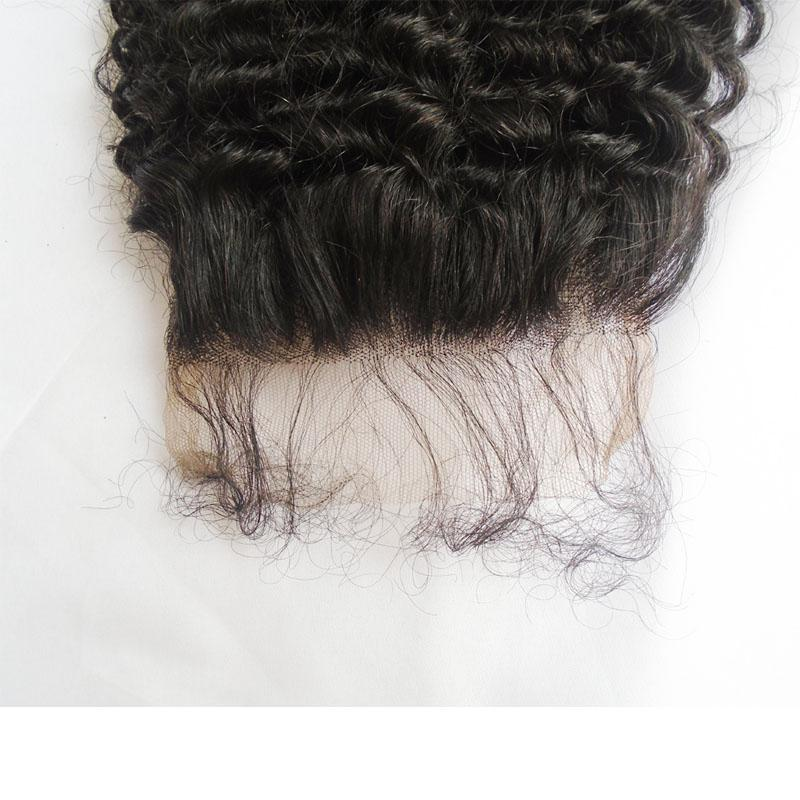 Unprocessed Brazilian Afro Kinky Curly Lace Closure With Baby Hair Natural Color 9A Grade 100% Virgin Human Hair Lace Front Closure 4*4