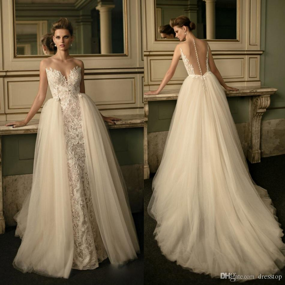 Berta Illusion Backless Wedding Dresses Pearls Sheer Pluning