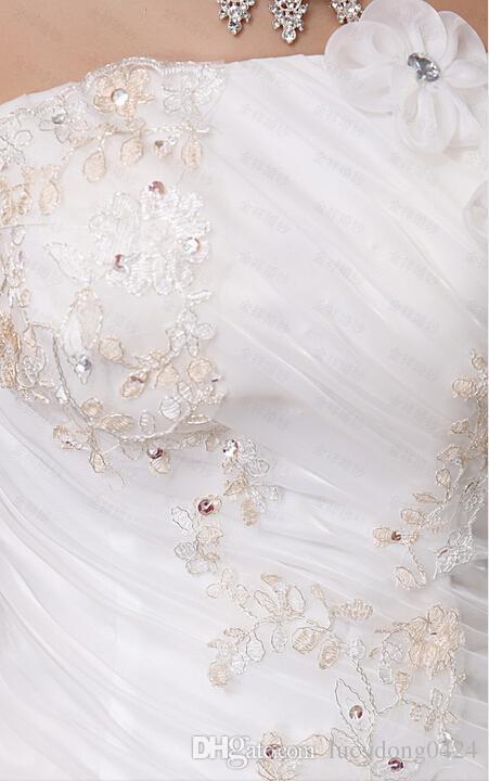 Tanie aplikacje Zroszony Bez Ramiączek Ruffles Suknia Suknia Ślubna w wysokości 100 USD