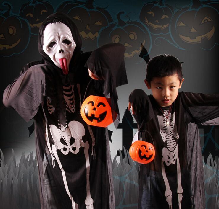 7*6cm Cute Halloween Decoration Props Smile Face Pumpkin Candy Bags Basket LED Lantern Craft Ornament