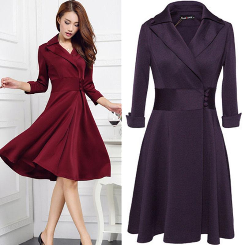 2018 Hot Elegant Fashion Slim Womens Ladies Lapel Winter Long ...