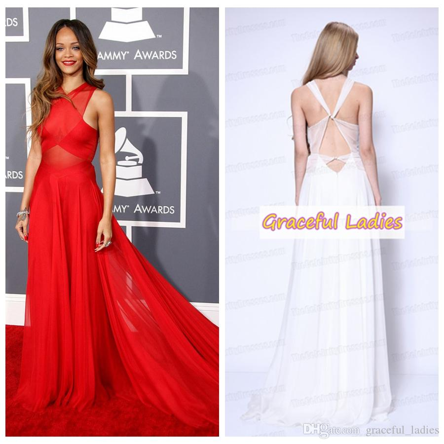 Rihanna Red Prom Dress Grammys 2013 Red Carpet Gown Criss Cross Top ...