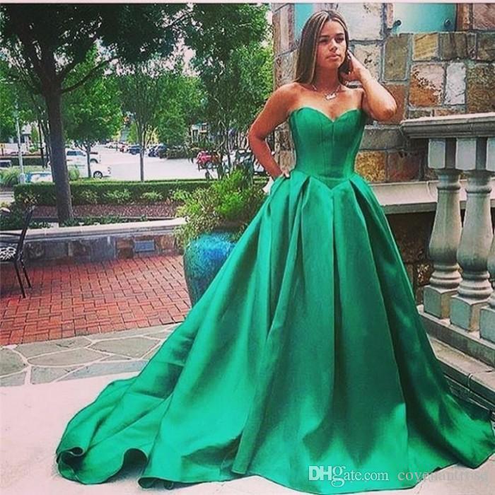 Formal Vestidos De Festa Sweetheart Green Prom Gowns Satin Long