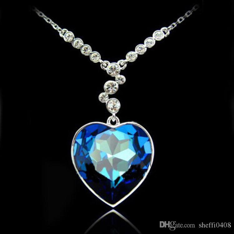 Wholesale the heart of the titanic pendant necklace blue gemstone wholesale the heart of the titanic pendant necklace blue gemstone swarovski elements necklace fashion crystal jewelry k147 butterfly necklace chain necklace aloadofball Choice Image
