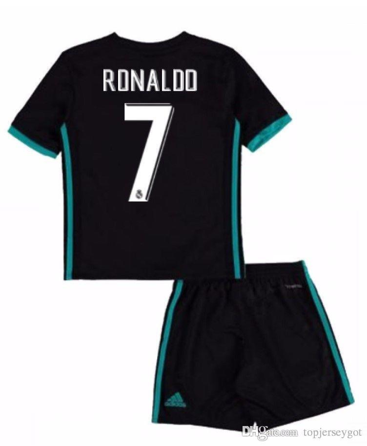 meet bf1fe 8f9e2 vendita all'ingrosso Cristiano Ronaldo 7 # madrid kids jersey con Shorts  per 3-13 anni Boys madrid jersey home away e 3rd boys football set