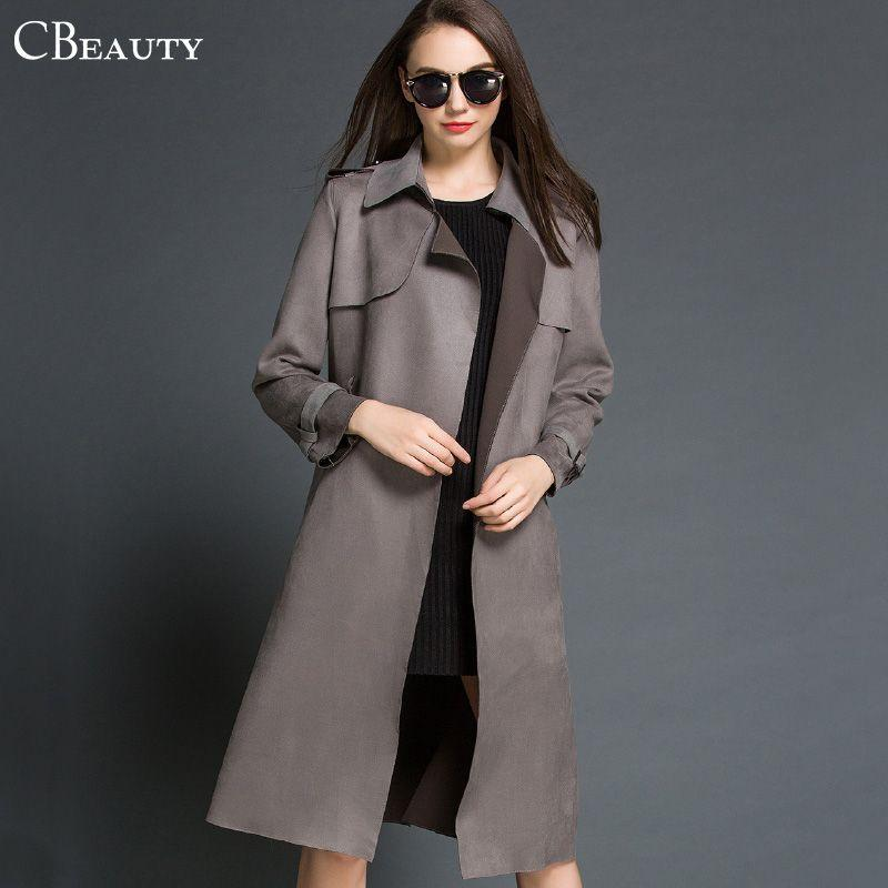 British Style Suede Trench Coat For Women Long Grey/Green Winter Coat With  Belt Women Cardigan Trenchcoat Windbreaker 2015 - British Style Suede Trench Coat For Women Long Grey/Green Winter