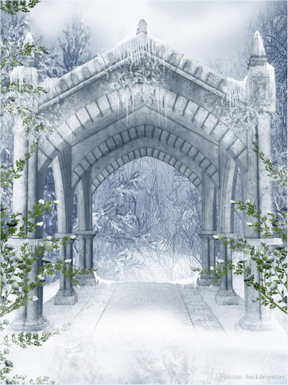 Outdoor Winter Snow Scenic Photography Backdrops Vinyl Vintage Stone Pavilion White Flower Trees Garden Photo Studio Background